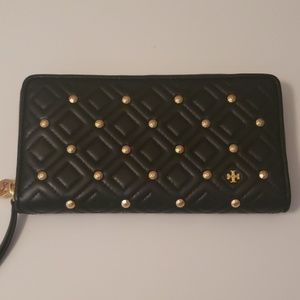 Tory Burch Black Studded Wallet